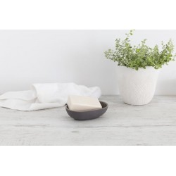 Flax Oval Bowl 14cm - charcoal